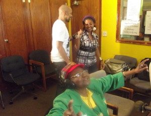 Calypso Rose at WRFG Studios 89.3FM  with the Caribbean Runnings crew (Berron Brown & MWilliams)