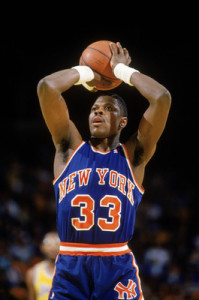 LOS ANGELES - 1987: Patrick Ewing #33 of the New York Knicks shoots a free throw during an NBA game (Photo by: Mike Powell/Getty Images)