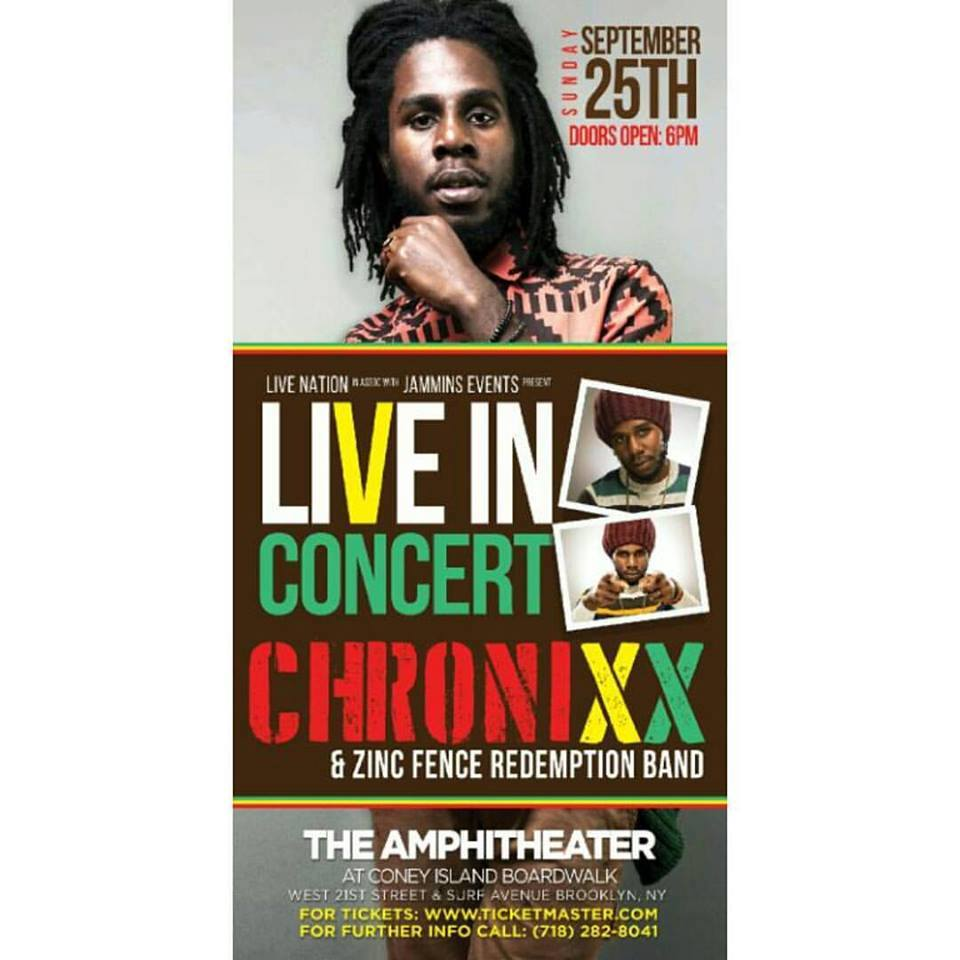Live In Concert Chronixx Amp Zinc Fence Redemption Band