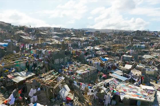Destruction left in Haiti in the aftermath of HurricaneMatthew