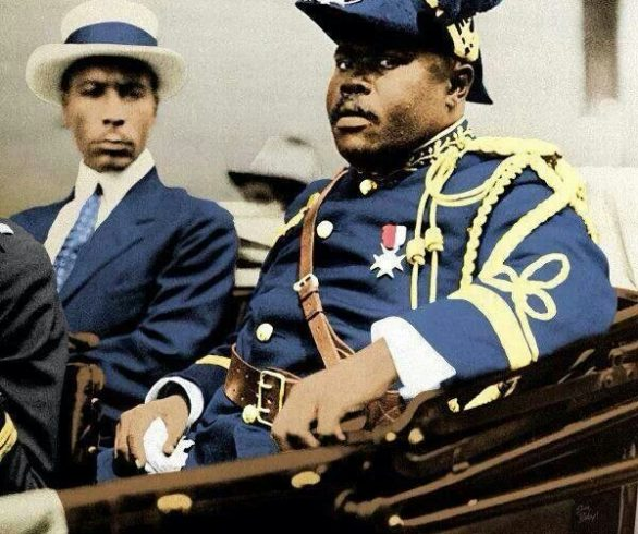 Marcus Garvey heading inspirational parade in New York in the early 1900's